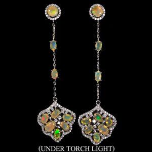 Unheated-Oval-Fire-Opal-Rainbow-Full-Flash-6x4mm-Cz-925-Sterling-Silver-Earrings