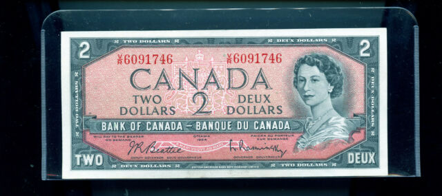 1954 Bank of Canada $2 Beattie Rasminsky UNC Wl1