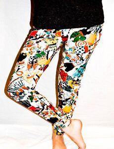 U96 WOMENS LADIES BARBIE DOLL CARTOON GRAFFITI PRINT FULL ANKLE LENGTH LEGGINGS.