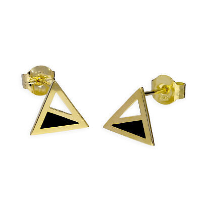 Details about  /9CT Rose Gold Polished Triangle Stud Earrings