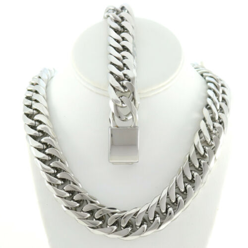 """SOLID STAINLESS STEEL SILVER FINISH THICK MIAMI CUBAN CHAIN /& BRACELET 21MM 36/"""""""