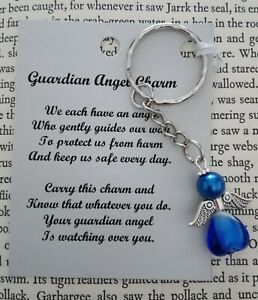HANDCRAFTED-GUARDIAN-ANGEL-CHARMS-KEYRING-BAGCHARM-TEACHER-GIFT-DARK-BLUE