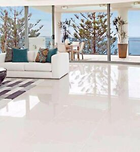 Image Is Loading Glazed Polished Porcelain Tile 24x24 Iceberg White Super
