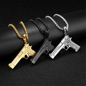 HIP-HOP-Waffe-Maschinengewehr-Anhaenger-Halskette-Gangster-Pistole-Gun-Biker