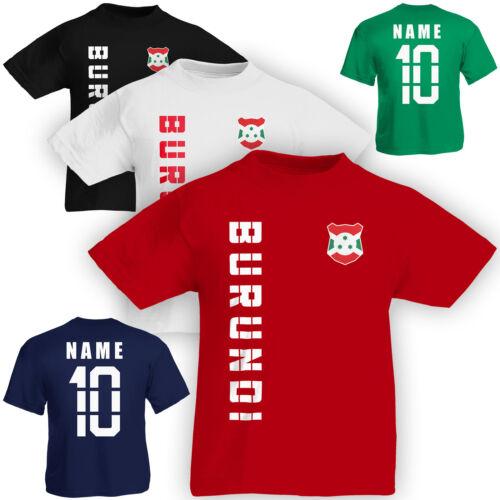 Kinder T-Shirt Trikot Burundi inkl Name /& Nummer S M L XL XXL Fussball Team Nat
