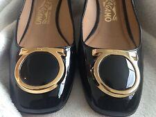 SALE: Ferragamo Black Patent Leather Kitten Heels with Gold Buckle (5.5B)