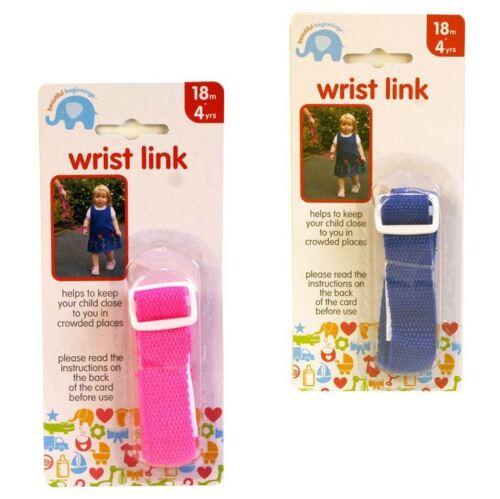 Beautiful Beginning Wrist Link Toddler strap tether Pink or Blue 18m+
