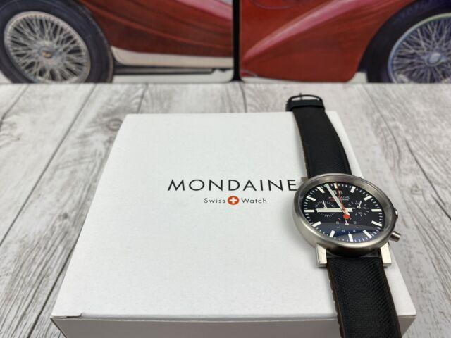 MONDAINE Evo Big Black Leather Strap Men's Chronograph