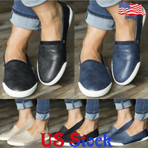 Women-039-s-Low-Top-Round-Toe-Slip-On-Flats-Loafers-Single-Shoes-Casual-Running-US