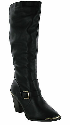 WOMENS LADIES HEEL CHELSEA SHOES CHUNKY CUT OUT TRIM BIKER BUCKLES ANKLE BOOTS