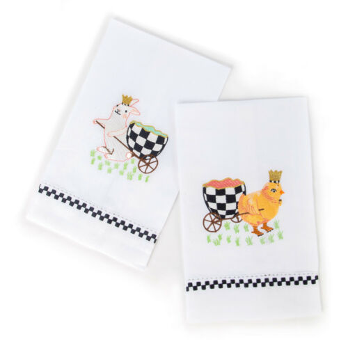 Mackenzie-Childs Guest Towels-Set Of 2 Easter Egg Hunt With Chick /& Bunny