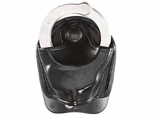Black Aker Leather A607-BP DMS Chain Handcuff Case Pull Through Snap