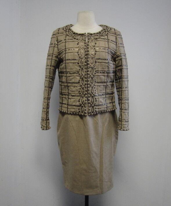 ESCADA Beige Wool Metallic Weave Detail 2 Pc Dress Suit 36