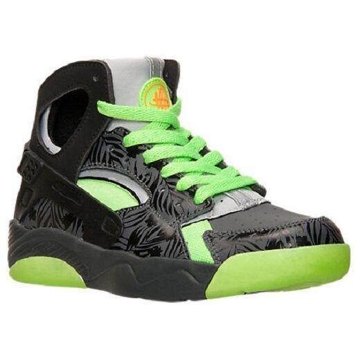 New Nike Flight Huarache GS Size 6.5Y Dark Grey/Black-Flash Lime 705281-002