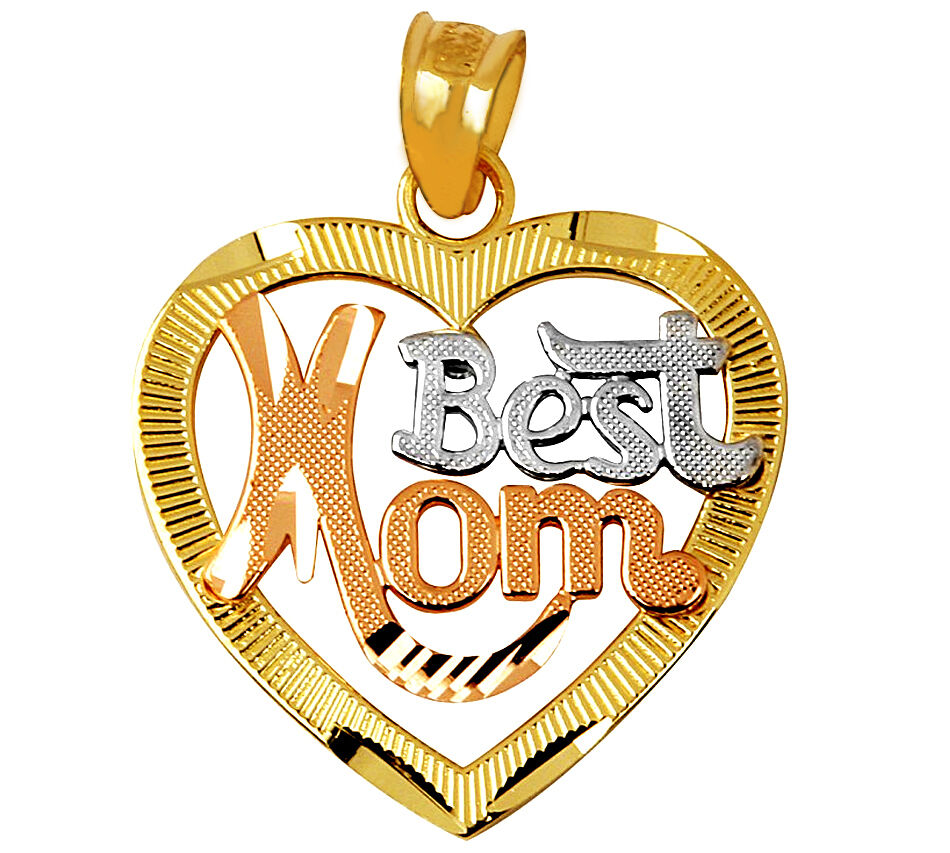 Fine 14k Three Tone gold Best Mom Script Open Heart gold Pendant