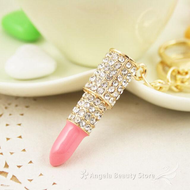 Fashion New Lovely PI Lipstick Dazzling Crystal Purse Bag Keyring KeyChain Gift