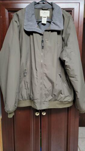 Nice LL Bean Fleece Lined Warm Up Jacket Olive Men
