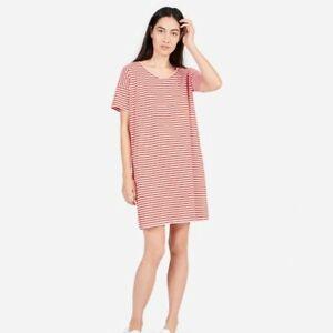 EVERLANE-Women-039-s-Crew-Tee-Shirt-Dress-Red-White-Striped-Size-Medium