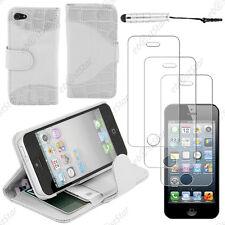 Housse Portefeuille Simili croco Blanc Apple iPhone SE 5S 5+Mini Stylet+3 Films
