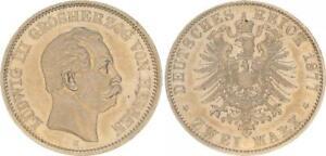 Hessen 2 Marco Plata 1877H Ludwig Iii. EBC , Hermosa Tinte