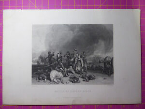 Antique-1880-Victorian-Engraving-BATTLE-HOPTON-HEATH-English-Civil-War-Etching