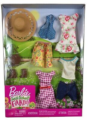 FREE SHIPPING !! BARBIE SWEET ORCHARD FARM 9 PIECE DOLL CLOTHES SET !