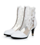 Fashion Womens Floral Mesh Lace Ankle Boots Kitten Mid heels Party Dress Shoes