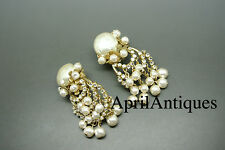 Vintage Miriam Haskell faux baroque pearl glasses dangle earrings