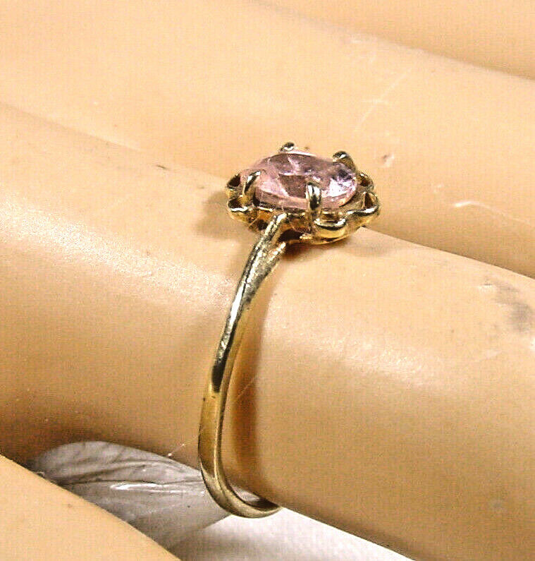 .25 ctw Solitaire Pink Ice Ring 10K yellow gold O… - image 1