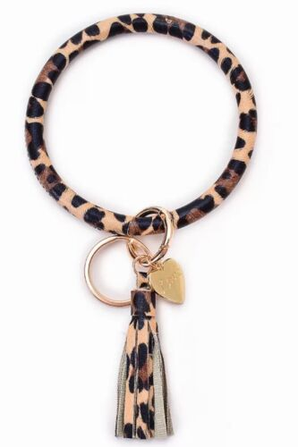 Leather Wristlet Bangle Keychain with Tassels brown and tan cheetah print