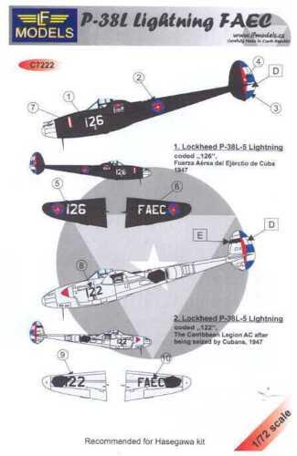 LF Models Decals 1//72 P-38L LIGHTNING Cuban Air Force FAEC 1947