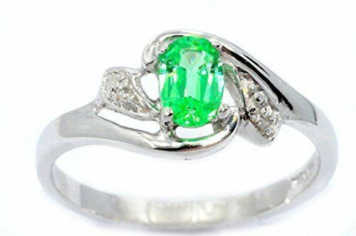 0.50 Ct Green Sapphire /& Diamond Oval Ring .925 Sterling Silver