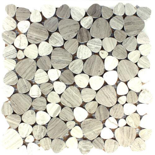 Mosaic Tiles Natural Stone Marble Pebble Grey Polished Wall Mirror