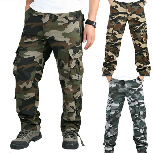 Mens Military Combat Trousers Camouflage Cargo Camo Army Multi Pocket Long Pants