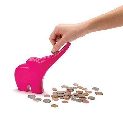ELLI Pink Rolling Coins Bank Elephant Saving Accumulating Money Monkey Business