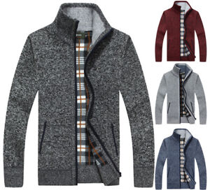 Mens-Thick-Winter-Warm-Full-Zip-Cardigans-Knitted-Sweater-Jumper-Jacket