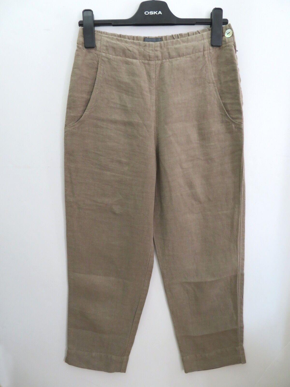 OSKA Größe 1, BEIGE 100% Linen COCOON Trousers Side Pockets LAGENLOOK ARTY BOHO