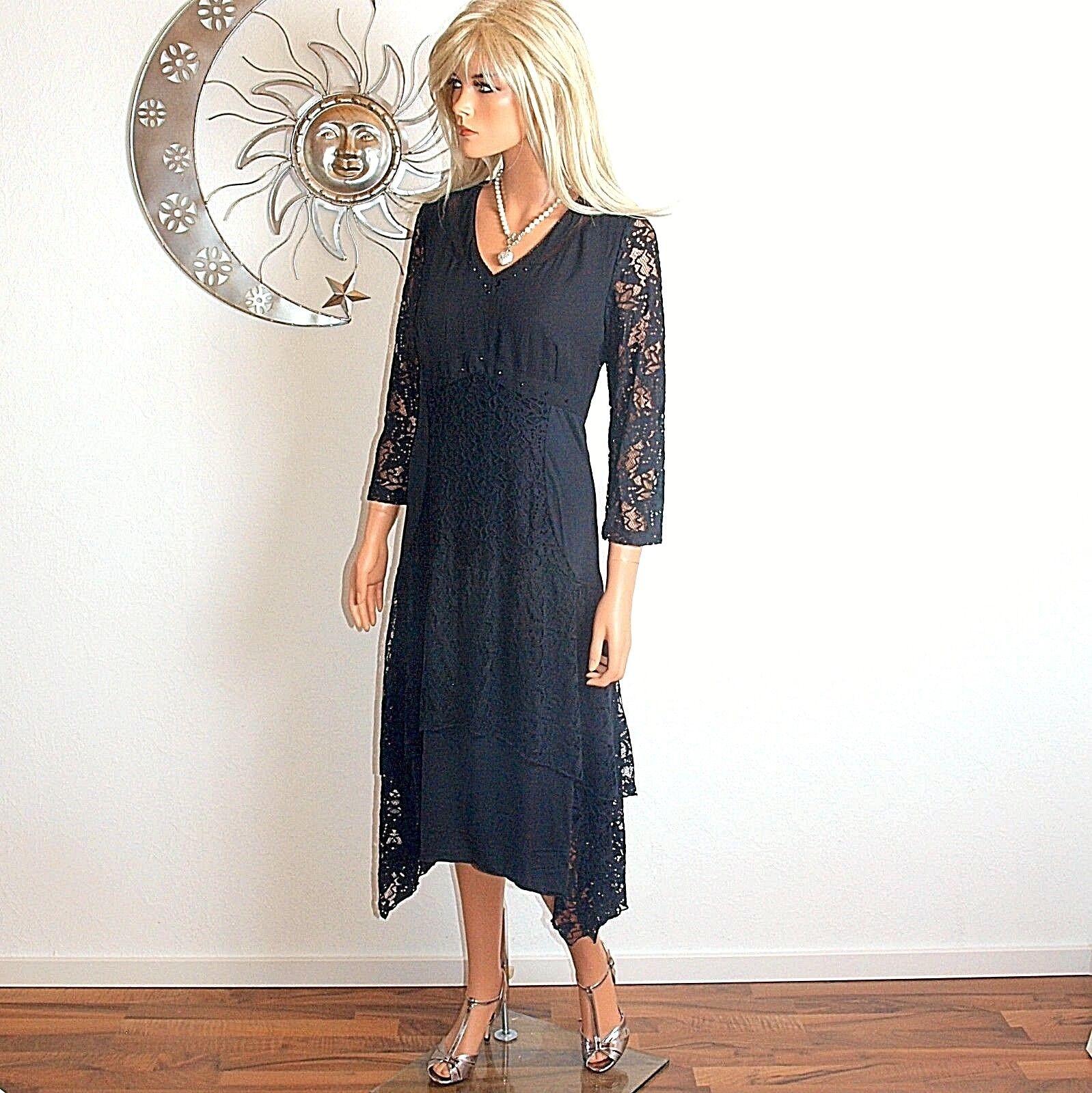 Biba schwarzes Kleid mit viel Spitze  Gr.36
