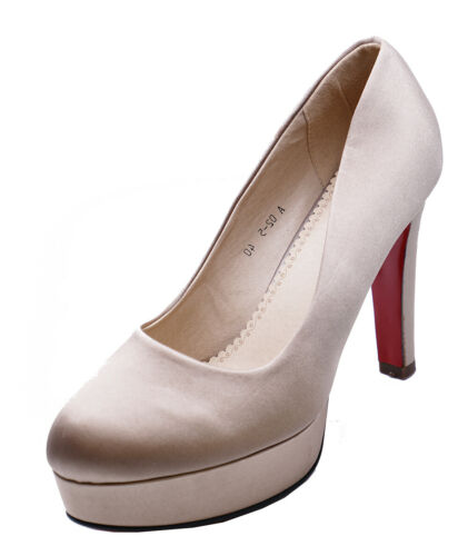 WOMENS CHAMPAGNE SATIN WEDDING BRIDAL BRIDESMAID PROM COURT SHOES SIZES 2-7