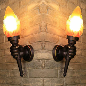 Details About Vintage Torch Style Loft Wall Lights Sconce Aisle Bar Lamp Decor Hc