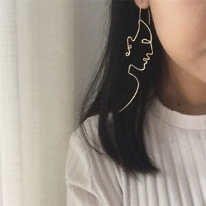 Gold-Filled-Face-Drop-Dangle-Wire-Ear-Stud-Earrings-Girls-Outline-Long-Earrings-gt