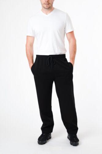 Mens Joggers Open Hem Bottoms Casual Plain Zip Pocket Sweat Pants Trousers S-5XL