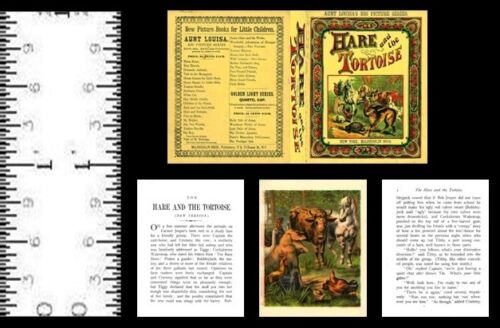 1:12 SCALE MINIATURE BOOK THE HARE AND THE TORTOISE PRE 1900 DOLLHOUSE SCALE