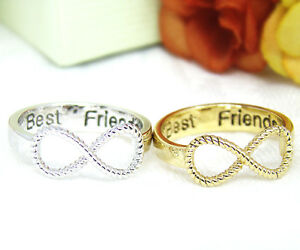 Best-Friends-Ring-Women-039-s-Infinity-Ring-Engraved-Ring-Jewelry-Gold-Silver-plated
