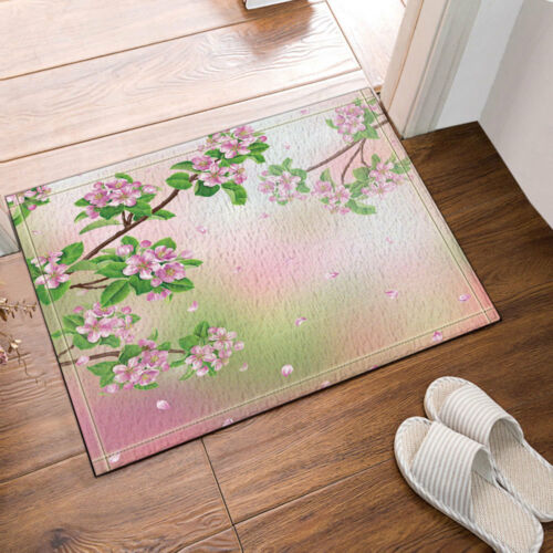 Pink Flower peach blossom Green Leaves Waterproof Fabric Shower Curtain Bath Mat
