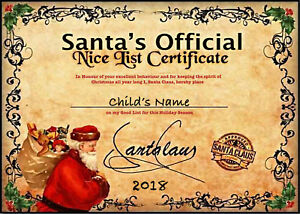 Image Is Loading Personalised Christmas Santa 039 Nice List Certificate
