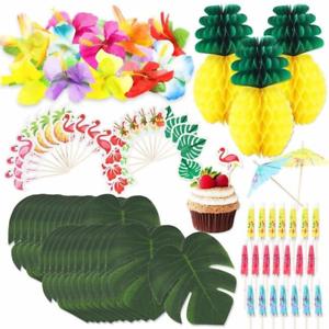 105pcs-Tropical-Hawaiian-Jungle-Luau-Beach-Theme-Party-Decoration-Supplies-Set