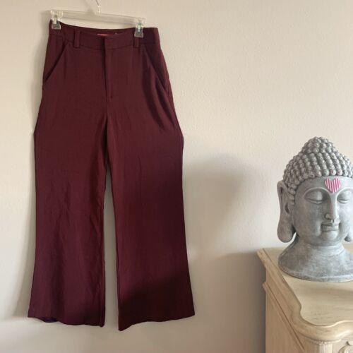 Alice And Olivia Maroon High Waist Wide Leg Pants