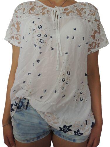 Femmes shirts avec motif floral G 42 44 46 48 chemisier t shirt grande taille fleurs