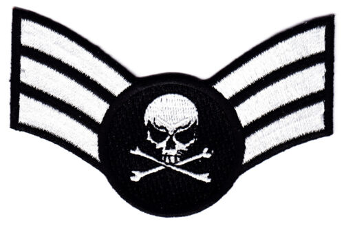 IRON ON EMBROIDERED PATCH BIKER INSIGNIA w//DEATH SKULL-CROSSBONES MILITARY